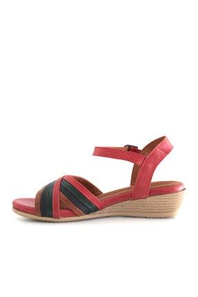 Beta Shoes Hakiki Deri Kadın Sandalet Kırmızı Kombin 2