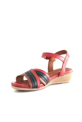 Beta Shoes Hakiki Deri Kadın Sandalet Kırmızı Kombin 3