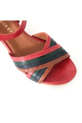 Beta Shoes Hakiki Deri Kadın Sandalet Kırmızı Kombin 4