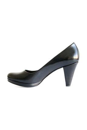 Beta Shoes Kadın Hakiki Deri Topuklu Ayakkabı Siyah 4