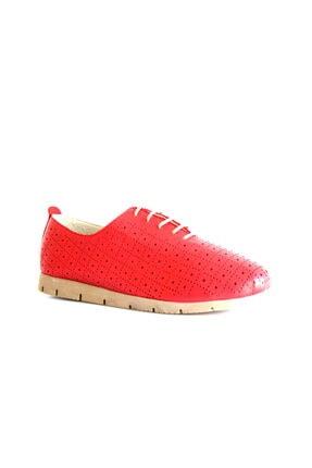 Beta Shoes Hakiki Deri Kadın Günlük Ayakkabı Kırmızı 0