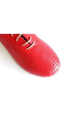 Beta Shoes Hakiki Deri Kadın Günlük Ayakkabı Kırmızı 3