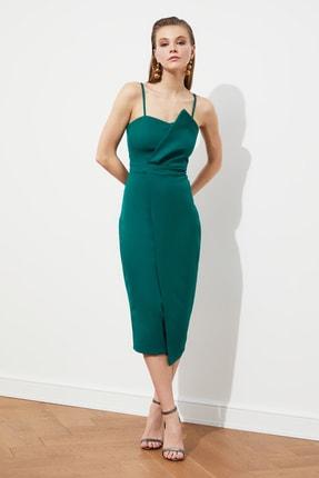 Zümrüt Yeşili Yaka Detaylı Elbise TPRSS19FZ0136