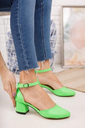 MERVE BAŞ Kadın  Yeşil Cilt Bilekten Tek Bant Kalın Topuklu Klasik Ayakkabı 2