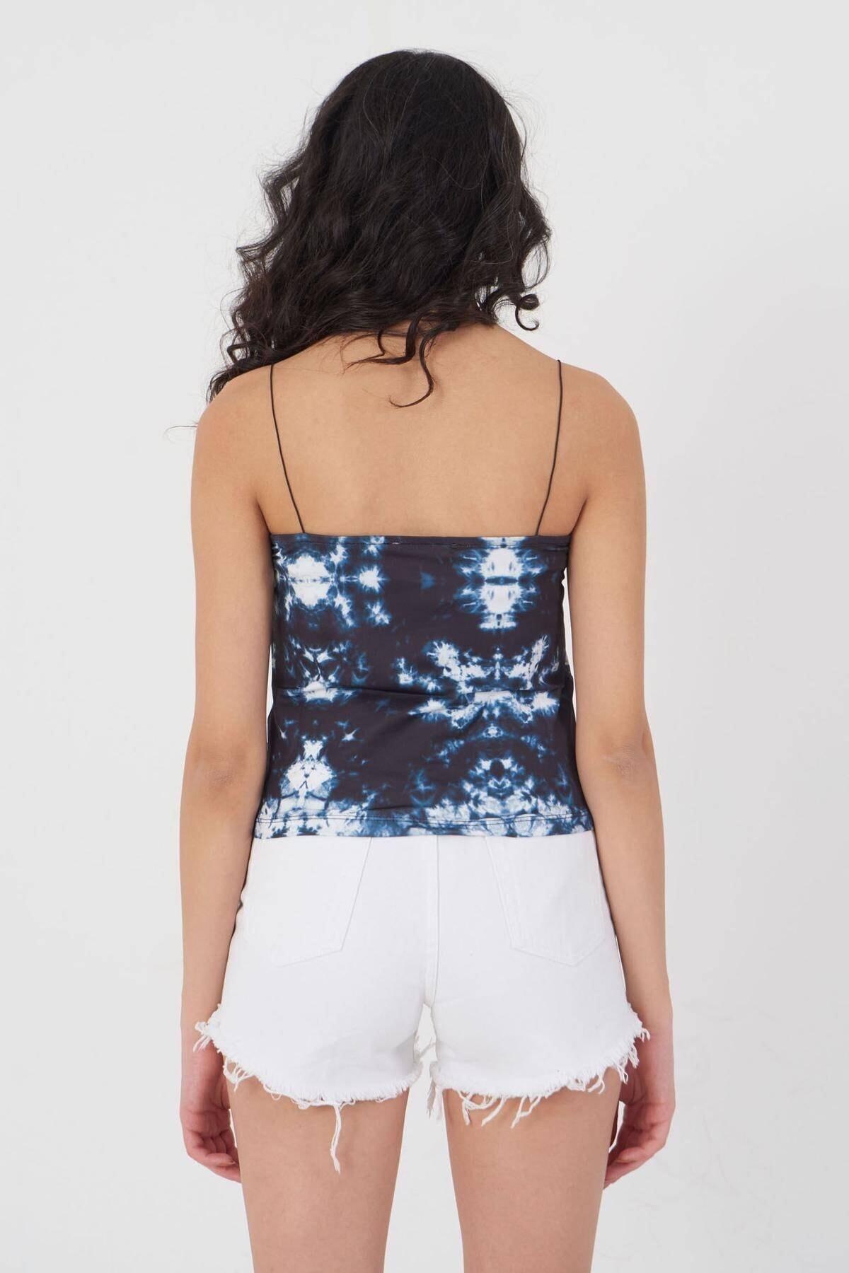 Addax Kadın Batik Ince Askılı Bluz P12237 - T8 Adx-0000023905 2