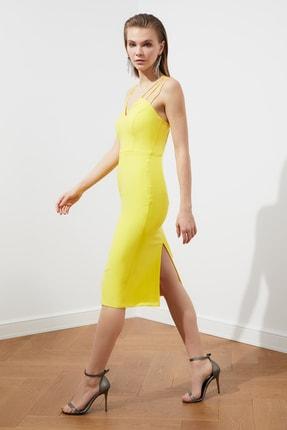 TRENDYOLMİLLA Sarı Omuz Detaylı  Elbise TPRSS21EL1092 1
