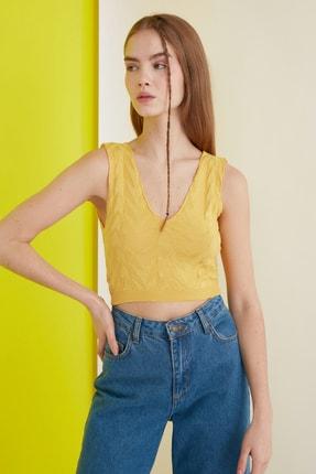 TRENDYOLMİLLA Sarı Crop Yazlık Triko Bluz TCLSS19GO0002 1