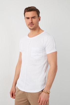 Buratti Erkek Beyaz Pamuklu Bisiklet Yaka Cepli T-Shirt 0