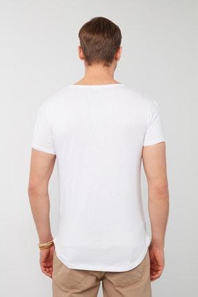 Buratti Erkek Beyaz Pamuklu Bisiklet Yaka Cepli T-Shirt 3