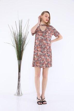 Tiefti Kadın Kahverengi Çiçekli Elbise 3