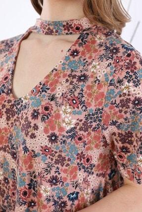 Tiefti Kadın Kahverengi Çiçekli Elbise 4