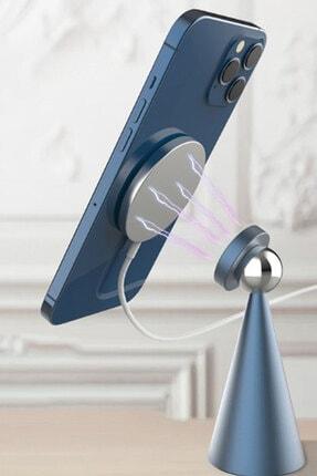BSD GİFTED Masa Üstü Mıknatıslı Metal Telefon Tutucu Stand + Iphone 12 Kablosuz Şarj Aleti 2