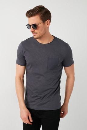 Buratti Erkek Gri Pamuklu Bisiklet Yaka Cepli T-Shirt 1