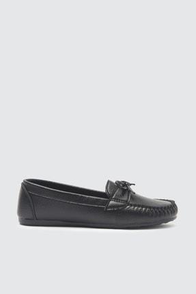 TRENDYOLMİLLA Siyah Fiyonklu Kadın Loafer Ayakkabı TAKSS21LO0004 1