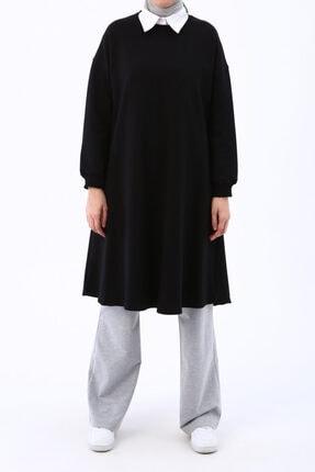 Ekrumoda Siyah Basic Kloş Tunik 1