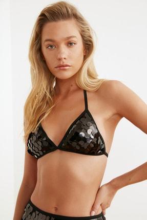TRENDYOLMİLLA Siyah Payetli Üçgen Bikini Üstü TBESS20BU0184 1