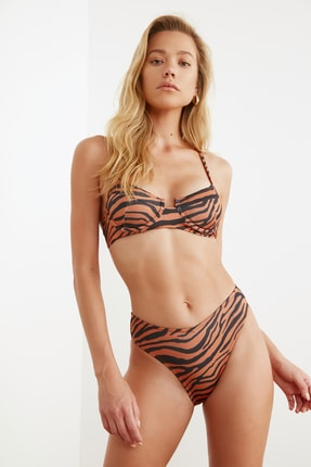 TRENDYOLMİLLA Zebra Desenli Normal Bel Bikini Altı TBESS21BA0037 2