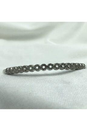 1001TAKI Kadın Gümüş Kelepçe Model Zirkon Taşlı Çelik Bileklik Bb1238 1