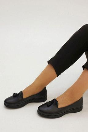 Marjin Sore Kadın Hakiki Deri Comfort Ayakkabısiyah 0