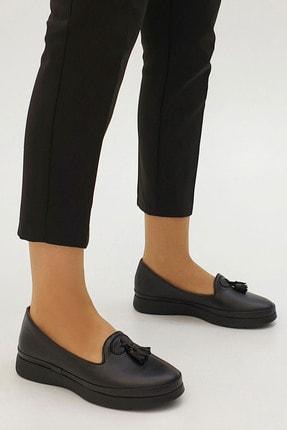 Marjin Sore Kadın Hakiki Deri Comfort Ayakkabısiyah 2