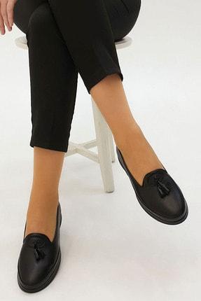 Marjin Sore Kadın Hakiki Deri Comfort Ayakkabısiyah 4