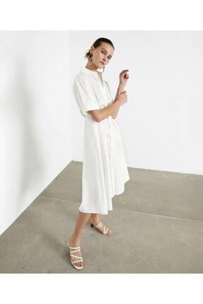 İpekyol Kadın Beyaz Pilili Poplin Elbise 1