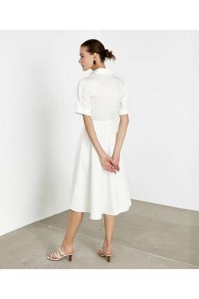İpekyol Kadın Beyaz Pilili Poplin Elbise 2