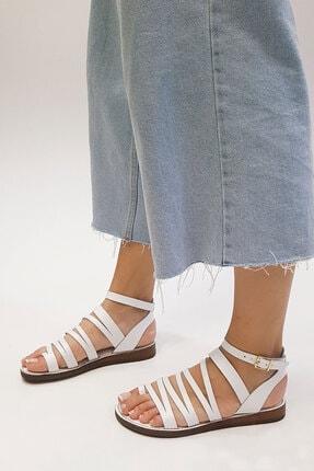 Marjin Kadın Beyaz Hakiki Deri Günlük Sandalet Saper 1