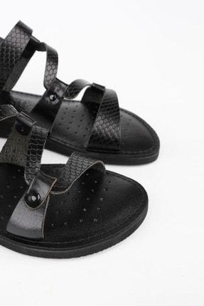 Marjin Kadın Siyah Yılan Hakiki Deri Günlük Sandalet Perte 4