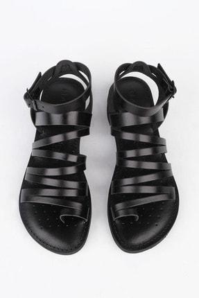 Marjin Kadın Siyah Hakiki Deri Günlük Sandalet Saper 0
