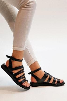 Marjin Kadın Siyah Hakiki Deri Günlük Sandalet Saper 4