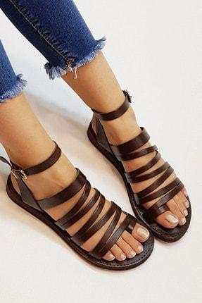 Marjin Kadın Kahve Hakiki Deri Günlük Sandalet Saper 0