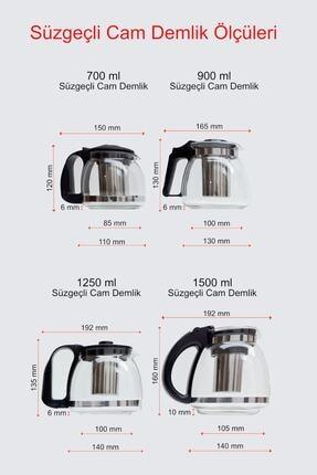 Perotti - Sefa Perotti Süzgeçli Cam Demlik 900 ml Kahve ve Bitki Çay Tea Pot Çaydanlık 2