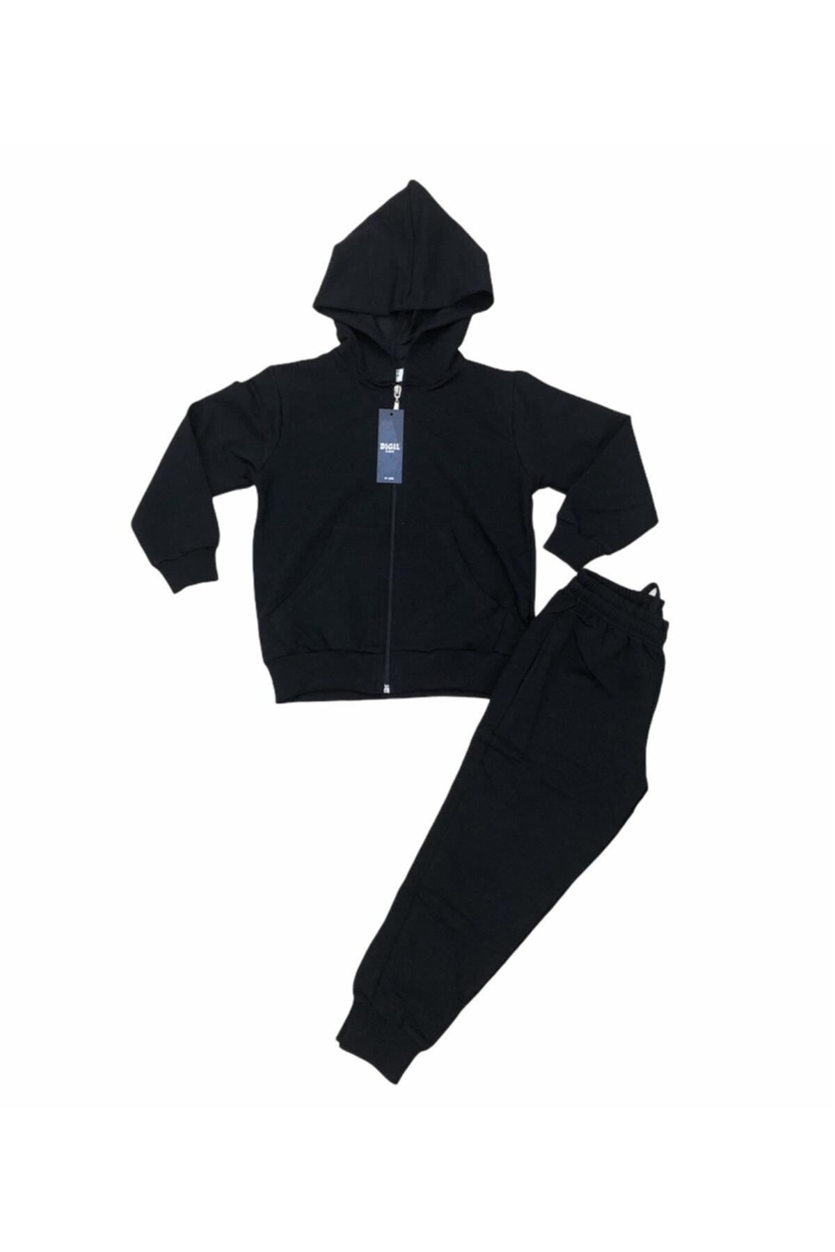 Unisex Çocuk Siyah Eşofman Takım Likralı Süper 2 Iplik