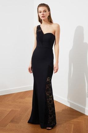 Siyah Dantel Detaylı Abiye Elbise TPRSS19BB0419
