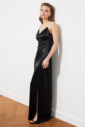 TRENDYOLMİLLA Siyah İnci Askılı Abiye & Mezuniyet Elbisesi TPRSS20AE0127 3
