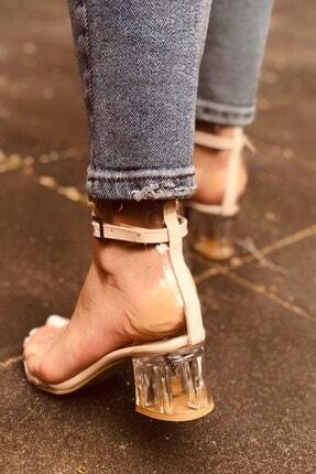 Huella Kadın Yazlık Krem Şeffaf Topuklu Ayakkabı 2