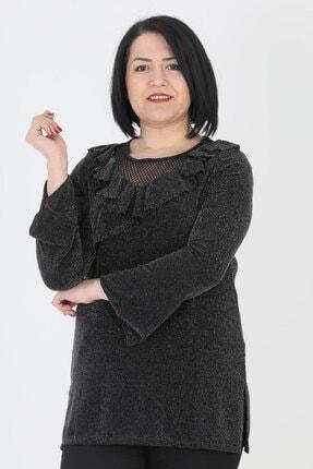 Günay Kadın Bluz Lm93450 Mevsimlik O Yaka Fırfır Detay Sim-sıyah 4