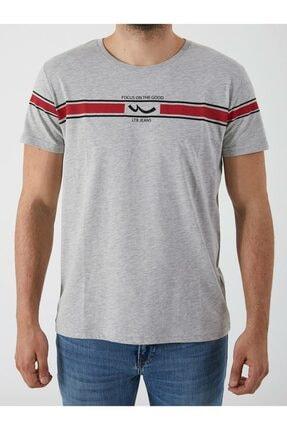 Ltb Erkek Gri  Baskılı  Kısa Kol Bisiklet Yaka T-Shirt-012208421960890000 0