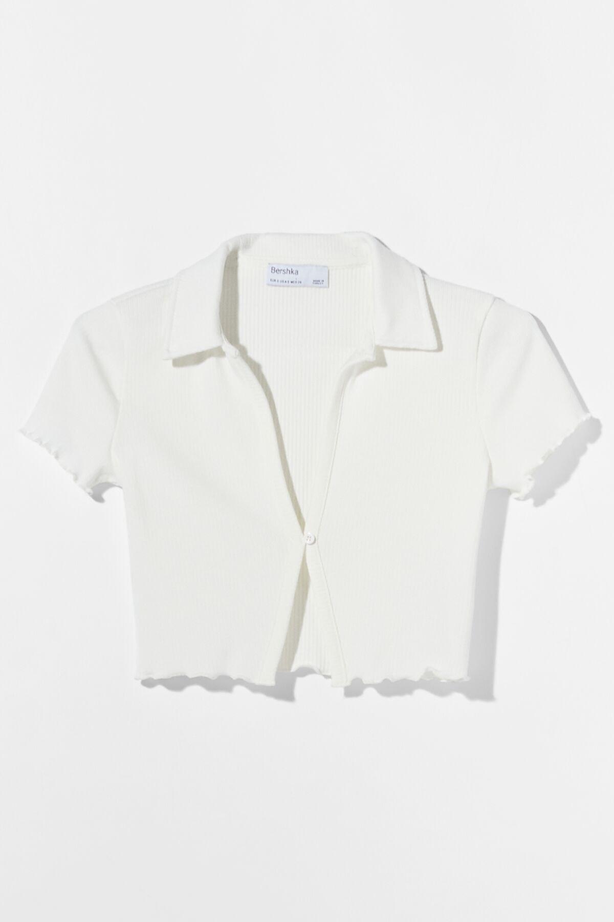 Bershka Kadın Beyaz Düğmeli Kısa Kollu Fitilli Polo T-Shirt 03305492 4