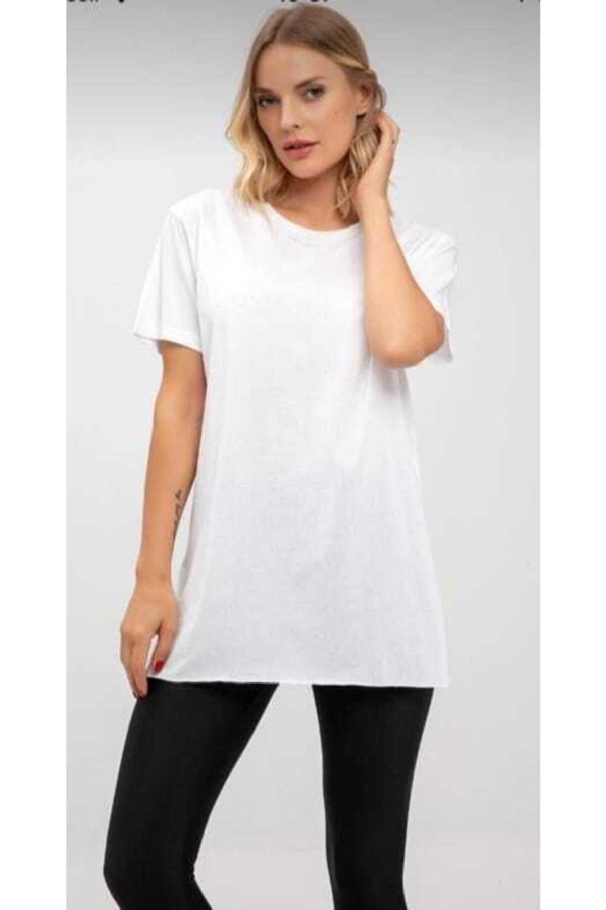 Karol Kadın Beyaz Bisiklet Yaka Pamuklu Basic T-shirt