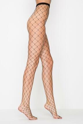 Penti Siyah Buyuk Fıle Külotlu Çorap 0