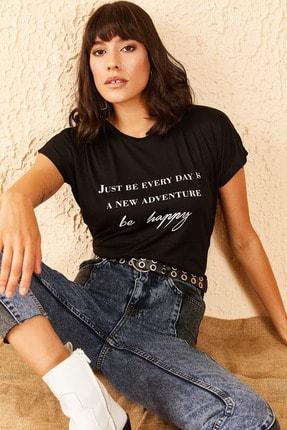 Bianco Lucci Kadın Yazı Baskılı Viskon Tshirt 0