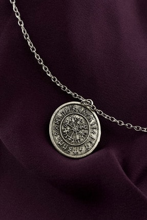MOONİ ACCESSORİES Unisex Gümüş Viking Pusulası Kaplama Zincir Kolye 0