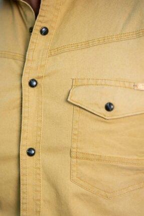 BAYEFENDİ Sarı Cepli Kot Gömlek Slim Fit 3