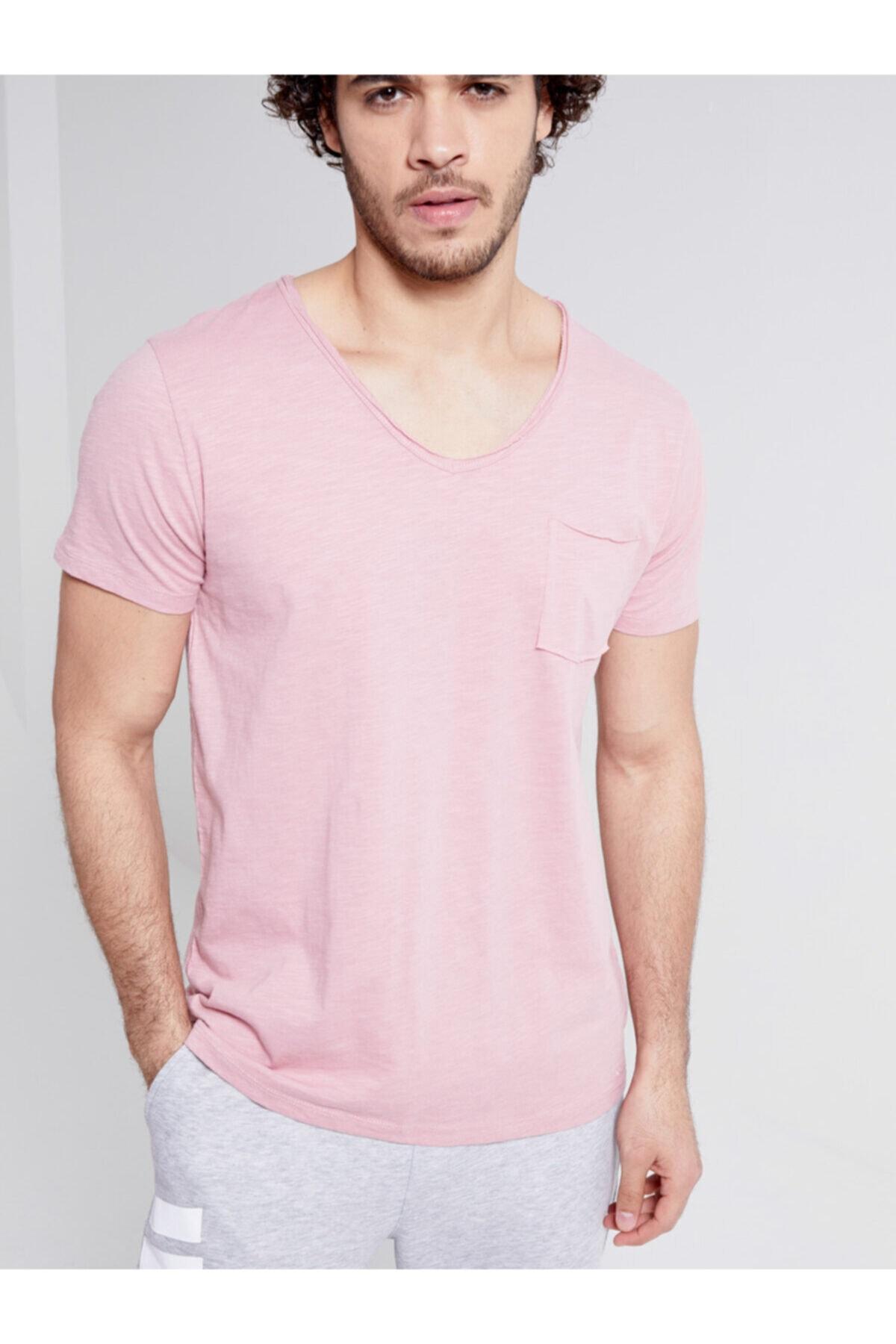 Erkek  Pembe  Kısa Kol V Yaka T-Shirt 012208419260890000