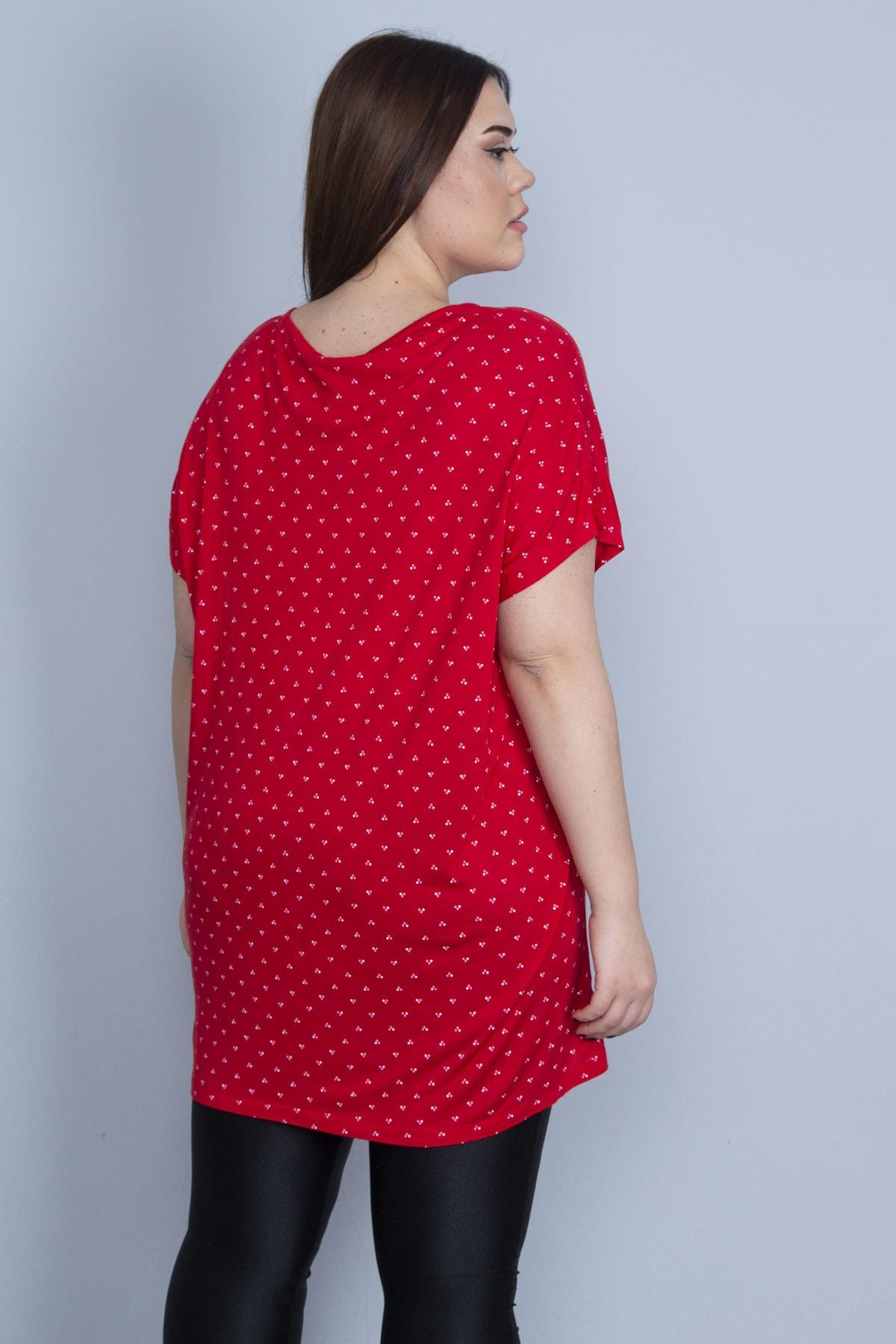 Şans Kadın Kırmızı Düşük Kol Viskon Bluz 65N23112