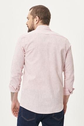 Altınyıldız Classics Erkek Bordo Tailored Slim Fit Dar Kesim Düğmeli Yaka %100 Koton Gömlek 3