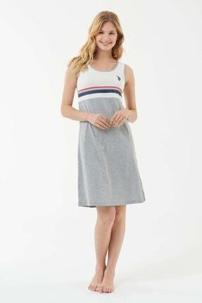 US Polo Assn Kadın Gri Melanj Elbise 0