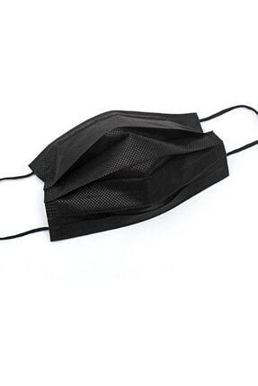 Moda Maske Siyah Renk Ultrasonik 3 Katlı Telli Cerrahi Maske 50 Adet 3